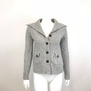 Banana Republic Cardigan Sweater Gray Wool Blend M